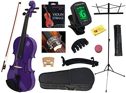 YMC 4/4 Full Size Handcrafted Solid Wood Student Violin Starter Kits(with Hard Case, Bow, Music Stand, Electronic Tuner, Bow Collimator, Shoulder Rest, Mute, Extra Strings, Polish Cloth, Rosin) Purple