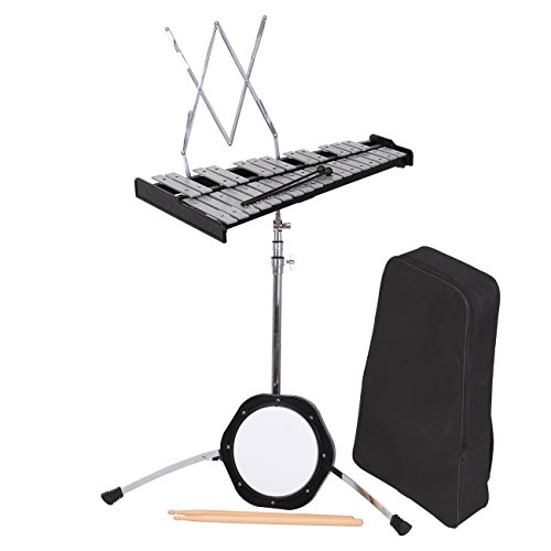 PanelTech 30 Note Bell Kit Percussion Glockenspiel Bell Mendini Case Educational Practice Pad Mallets,Sticks, Stand,Carry Case