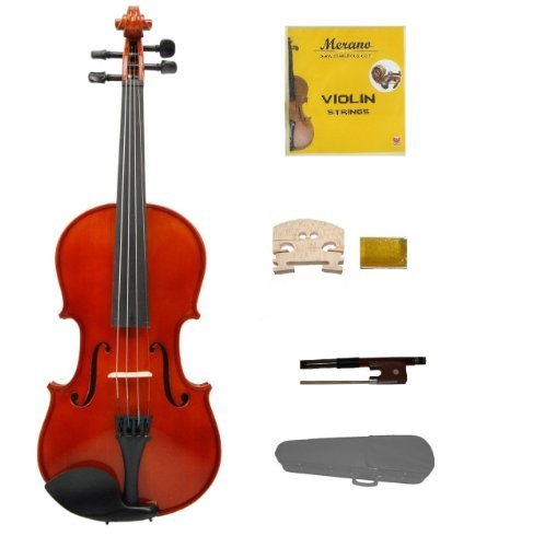 Merano 4/4 (Full) Size Acoustic Violin with Hard Case, Bow+Free Rosin+2 Bridges+Extra Set of Strings