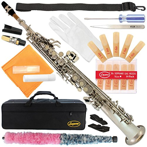 300-NK-SILVER/Nickel Bb STRAIGHT SOPRANO Saxophone Sax Lazarro+11 Reeds,Care Kit~22 COLORS~SILVER or GOLD KEYS~CHOOSE YOURS !