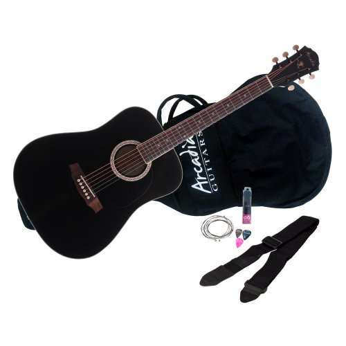 Arcadia DL41BK PAK 41″ Full-size Dreadnaught Acoustic Guitar Pack, Spruce with Black Finish