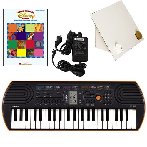 Casio SA-76 44 Key Mini Keyboard Deluxe Bundle Includes Bonus Casio AC Adapter, Desktop Music Stand & 1st Book of Disney Solos Beginning Piano Solo Songbook