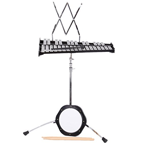 Iglobalbuy 30 Note Educational Percussion Glockenspiel Bell Kit W/Practice Pad , Mallets, Sticks, Stand, Carrying Case