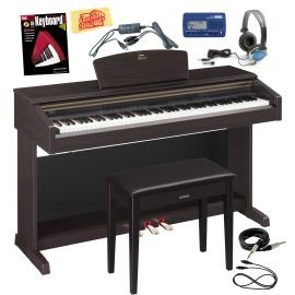 Yamaha Arius YDP-181 Digital Piano Bundle with Bench, USB-MIDI Interface, Metronome, Essential Cables Pack, Headphones, Instructional Book, and Polishing Cloth – Dark Rosewood