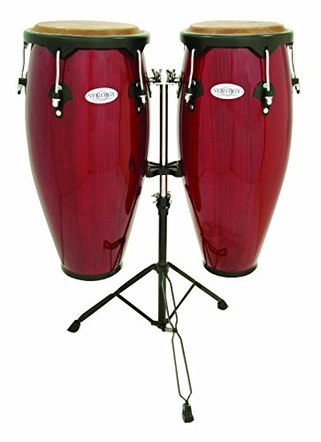 Toca Synergy Wood Conga Set w/ Double Stand – Red
