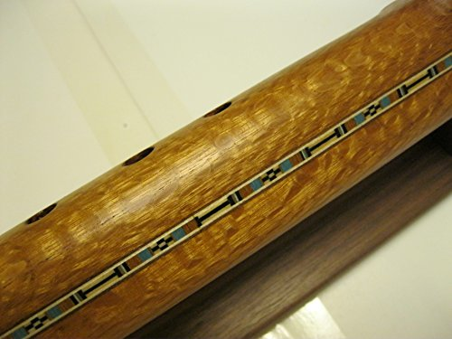 Native American Flute – Flamed Lace Wood – Key of Low D – Handmade.. with Flute Stand, and Cd & Book (how to play flute) AWESOME SOUND