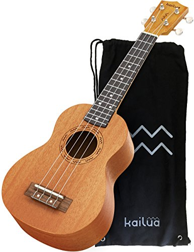 Kailua 4 String Soprano Ukulele – Hand Crafted Mahogany Wood Vintage Style Hawaiian Musical Instrument – Best Ukulele to Learn How to Play – Black Nylon Bag Included as Carrying Case