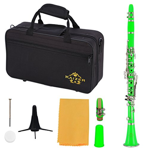 Kaizer Reliable Student Clarinet 1000 Series Standard B Flat Bb in Green with Included Accessories CLE-1000GR