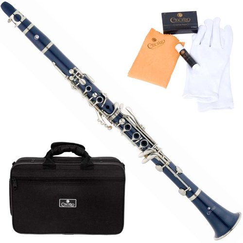 Cecilio 2Series CT-28BL Blue ABS Bb B-Flat Clarinet + Case, Mouthpiece, 10 Reeds and Accessories