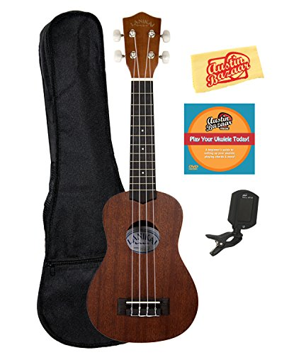 Lanikai LU-21 Soprano Ukulele Bundle with Gig Bag, Clip-On Tuner, Austin Bazaar Instructional DVD, and Polishing Cloth