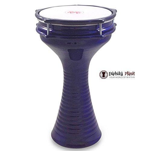 "ZAZA Percussion 16"" Blue Aluminum Darbuka, Synthetic Head and Internal Jingles"