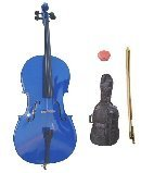 GRACE 3/4 Size Blue Cello with Bag and Bow + Free Rosin