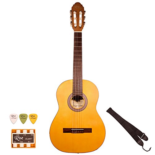 Rise by Sawtooth ST-RISE-CL-N Full Size Beginner's Acoustic Guitar with Accessories, Satin Gold Stain