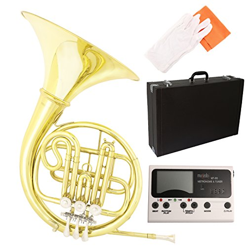 LAGRIMA Single F-Key French Horn Brass Professional Band w/ Tuner, Care Kit for Beginner