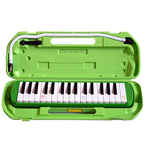 Bestwoo 32 Key Melodica Piano Style with Carrying Case Musical Instrument (Light Green)