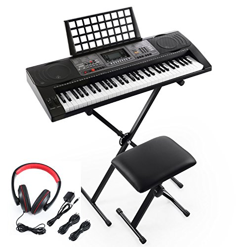 Joy 61-Key Lighted Key Touch Sensitive Keyboard Kit with Stand, Stool, Headphone and Power Supply