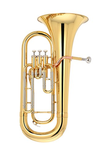 Kaizer Reliable Student Euphonium 2000 Series Standard B Flat Bb in Gold Lacquer Finish with Included Action Camera and Accessories EUP-2000LQ