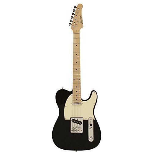 Sawtooth ST-ET-BKW Electric Guitar, Black with Aged White Pickguard