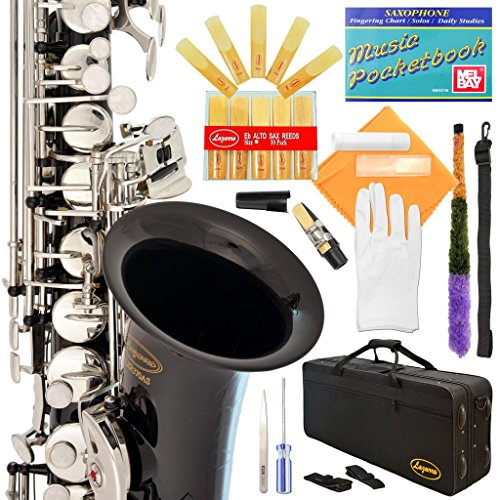 Lazarro Professional Black-Silver Keys E-flat Eb Alto Saxophone Sax with 11 Reeds, Case, Music Book, Mouthpiece and Many Extras, 370-BK-L