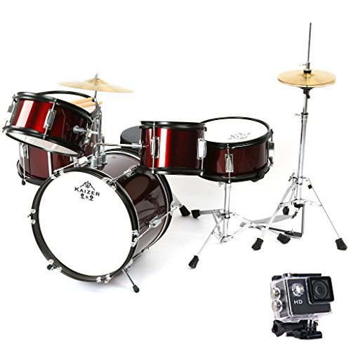 Kaizer Reliable Junior Drum Set 1000 Series Standard 5 pc Kids Set with Included Action Camera & Accessories (Metallic Red)