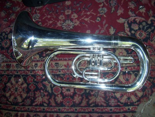 Marching Euphonium with hard case and mouthpiece, silver