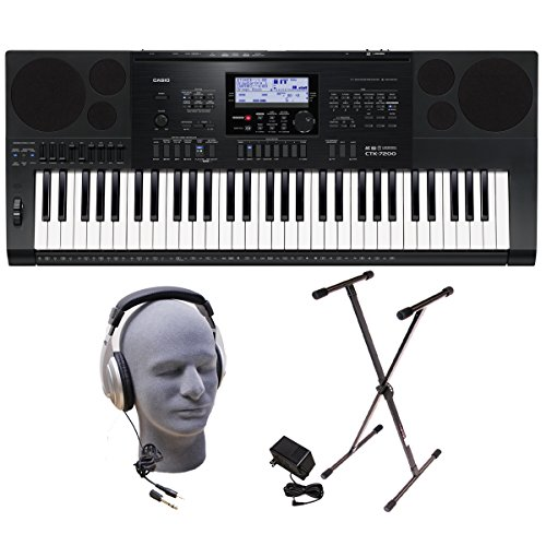 Casio Inc. CTK7200 PPK 61-Key Premium Keyboard Pack with Headphones, Power Supply and Stand