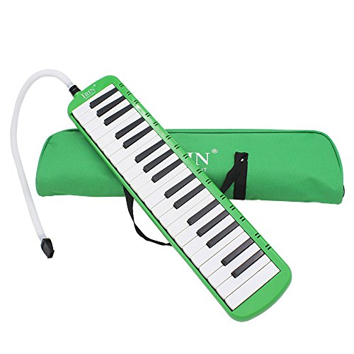 Goswot 37 Piano Keys Melodica Musical Instrument for Music Beginners with Carrying Bag (Green)