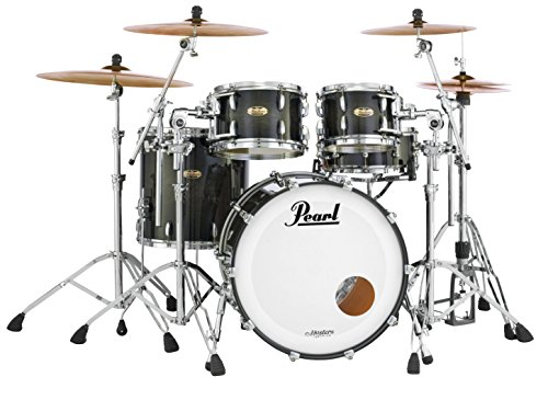 Pearl Masters Maple Complete MCT924XEDP/C124 4 Piece Drum Shell Pack, Black Mist