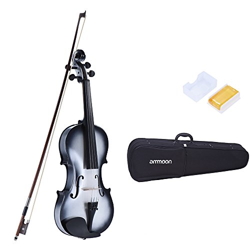 ammoon 4/4 Full Size Basswood Violin Maple Scroll Fingerboard Pegs Tailpiece with Rosin Bow Violin Case Gradient Color