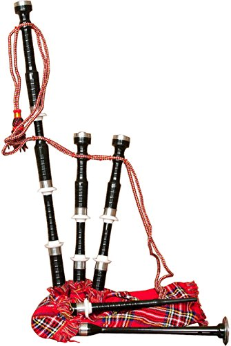 Roosebeck Full Size Sheesham Bagpipe Black Finish with Red Tartan Cover