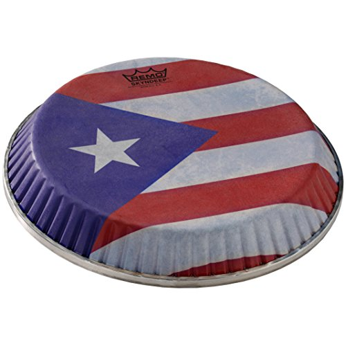"""Remo Conga Drumhead, Symmetry, 11.06″ D4, SKYNDEEP®, """"Puerto Rican Flag"""" Graphic"""