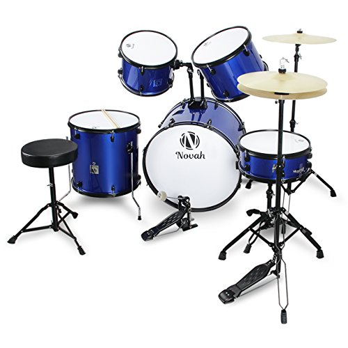 Novah 5-Piece Adult Starter Drum Kit with Stool and Drum Stick, Full Size, Blue