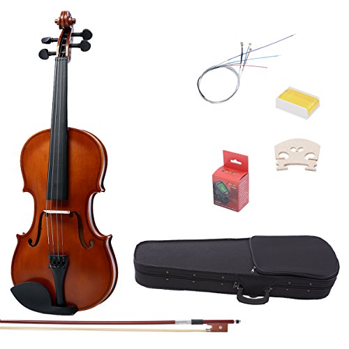 IMusic 4/4 Full Size Acoustic Violin Kit for Students Beginners Starters, Matte Antique