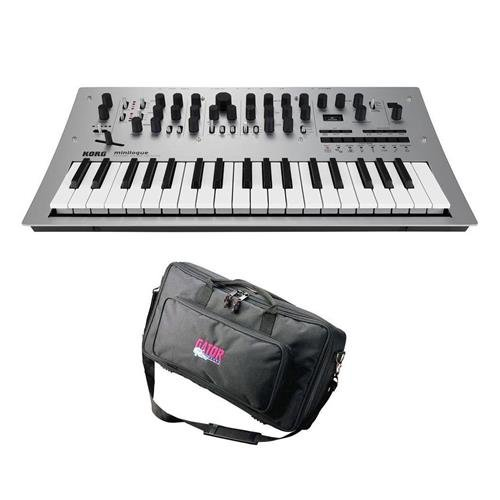 Korg Minilogue 4 Voice Polyphonic Analog Synthesizer with 200 Presets – Bundle With Gator Cases GK-2110 Micro Keyboard Bag