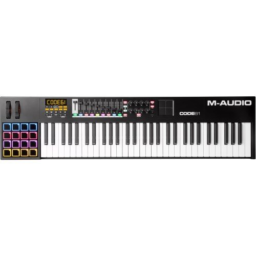 M-Audio Code 61 Black | 61-Key USB MIDI Keyboard Controller with X/Y Touch Pad (16 Drum Pads / 9 Faders / 8 Encoders)
