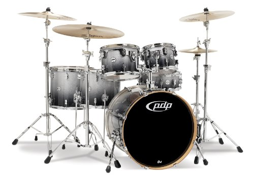 Pacific Drums PDCM2216SB 6-Piece Drumset with Chrome Hardware – Silver to Black Fade