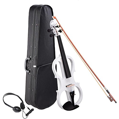 AW 4/4 Electric Violin Full Size Wood Silent Fiddle Stringed Instrument Bow Headphone Case White