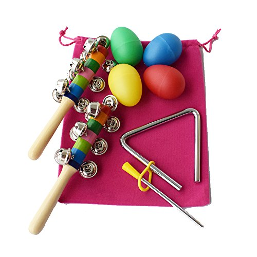 Musical Instruments Toy Set for Kids,2 Rattle Rock Maracas Percussion & 4 Egg Shakers & Music Triangle,Set of 7