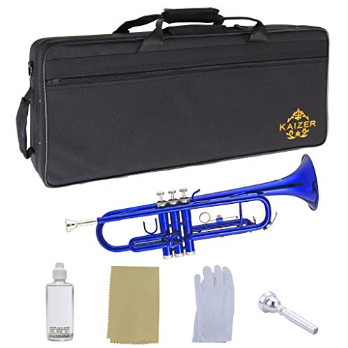 Kaizer Student Trumpet Standard B Flat Bb Blue Essential Accessories Included School Band Orchestra Musician Mouthpiece Valve Oil Cleaning Cloth Gloves Hard Case TRP-1000BL