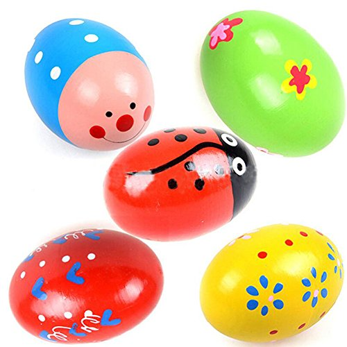E Support™ 10 PCS Colorful Wooden Egg Music Shaker Instrument Nice Design Maracas Play Toy for Baby Musical Educational Toys Random Ship