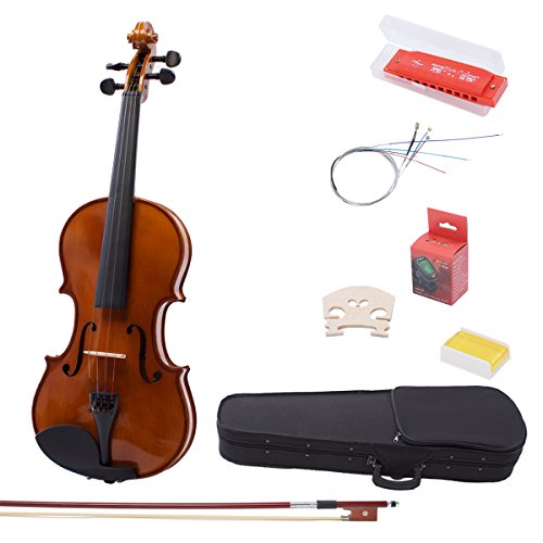 IMusic 4/4 Full Size Solid Wood Acoustic Violin Kit With Beautiful Inlaid Purfling and Varnished Finish(Violin+Case+Bow+Rosin+E-Tuner+Harmonica+Extra Bridge+Extra String)-Gloss Brown