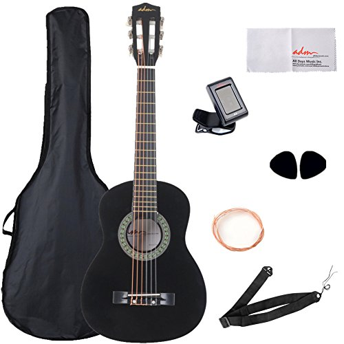 ADM 30 Inch Beginner Acoustic/Classical Guitar with Carrying Bag & Accessories, Black Gloss