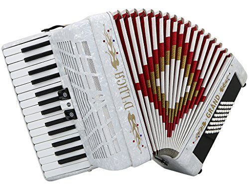 D'Luca D3048-WH Grand Piano Accordion 3 Switches 30 Keys 48 Bass with Case and Straps, White