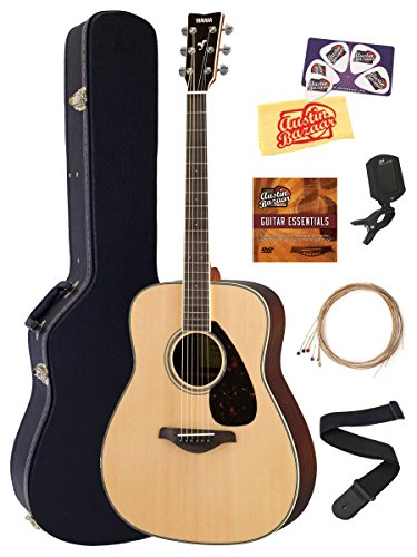 Yamaha FG830 Solid Top Folk Acoustic Guitar – Natural Bundle with Hard Case, Tuner, Strings, Strap, Picks, Instructional DVD, Polishing Cloth