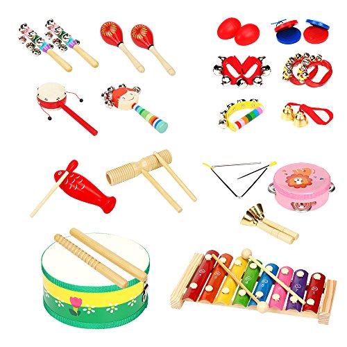 LUCKSTAR Kids Musical Instruments 18 Pieces – Percussion Toy Rhythm Band Set Children Toddlers Musical Toys Gift for Baby / Kid / Child (18pcs)