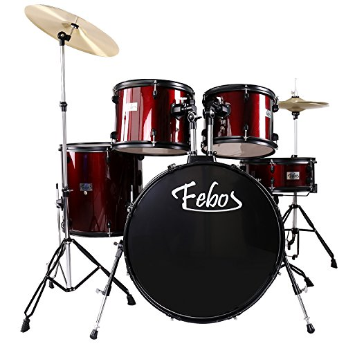 Febos FBS-10 WR Full Size Adult Drum Sets 5 Piece with Cymbals, Pedal, Throne, & Drumsticks, Wine Red