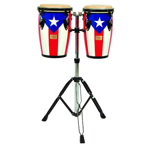Tycoon Percussion 8 Inch & 9 Inch Junior Congas With Double Stand – Puerto Rican Flag Finish