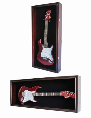 Guitar Display Case Cabinet Wall Hanger for Fender or Electric Guitars w/ Uv Protection- Lockable, Mahogany Finish (GTAR2 (BL)-MA)
