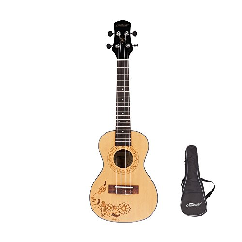 Makanu Concert Ukulele with Gig Bag,Spruce with Tattoo and AQUILA Strings