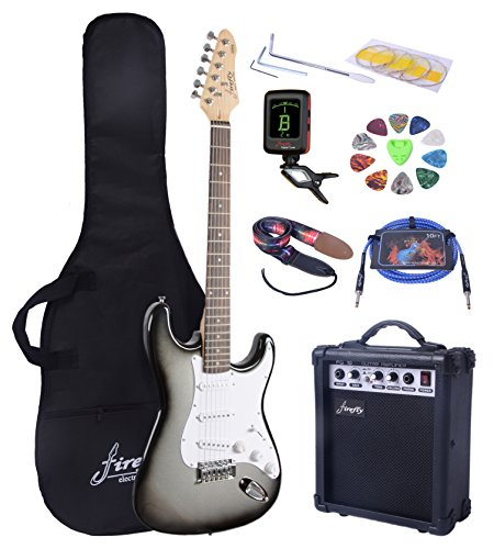 Full Size Silver Burst Electric Guitar with Amp, Case and Accessories Pack Beginner Starter Packag